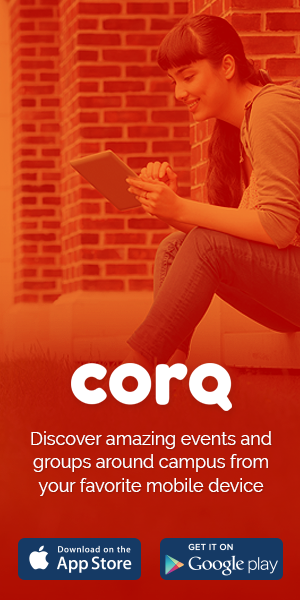 Advertisement for Corq Mobile Event Engagement Application